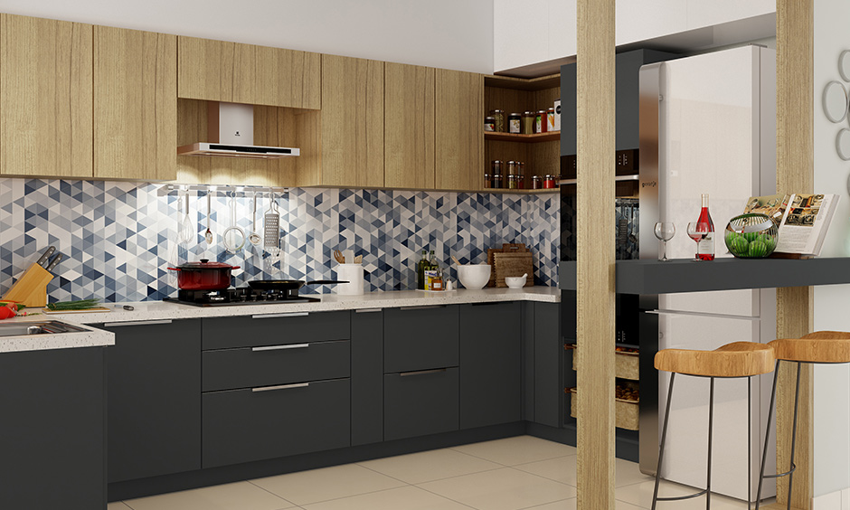 Tiles with a geometric pattern are a great choice when you're looking for blue kitchen wall decor.