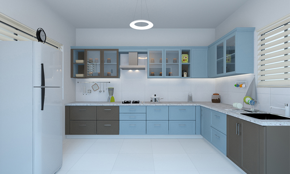 Blue and brown kitchen ideas with white wall, A powder blue kitchen will promote feelings of healing and understanding.
