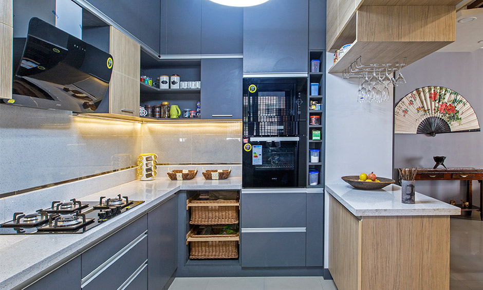 This steel blue gray kitchen is a space that will inspire you to spend more time cooking!