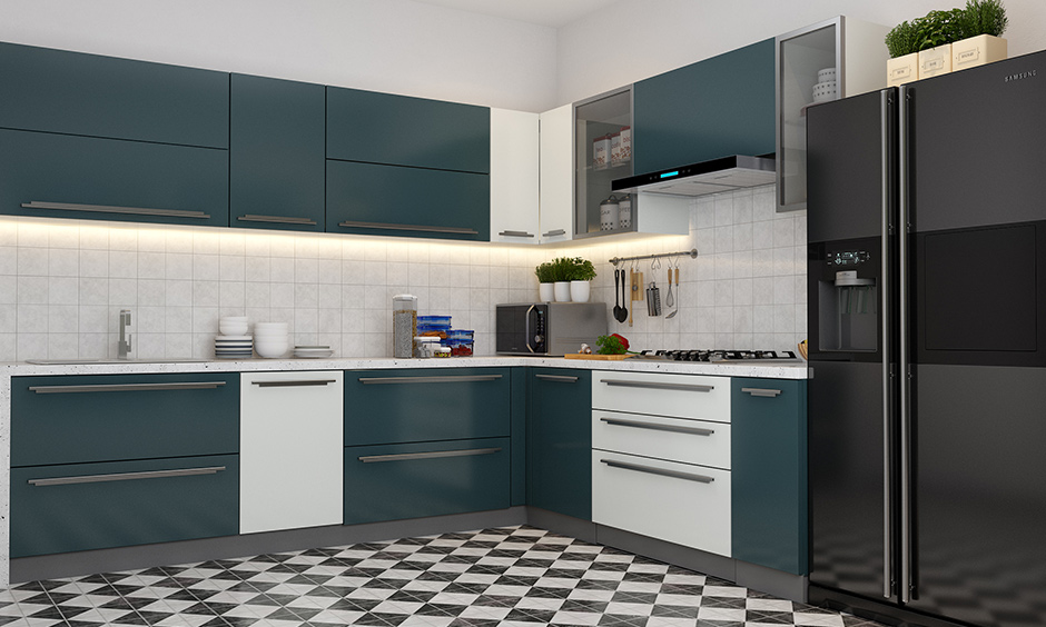 Blue modular kitchen units in teal the classic blue and white colour scheme is an all-time favourite.