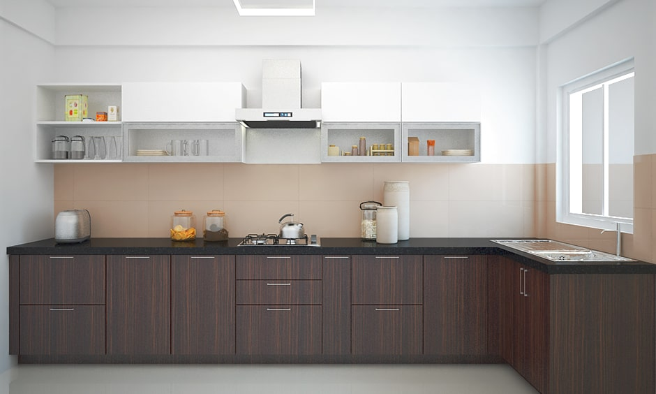 Traditional indian kitchen design go with dark walnut theme