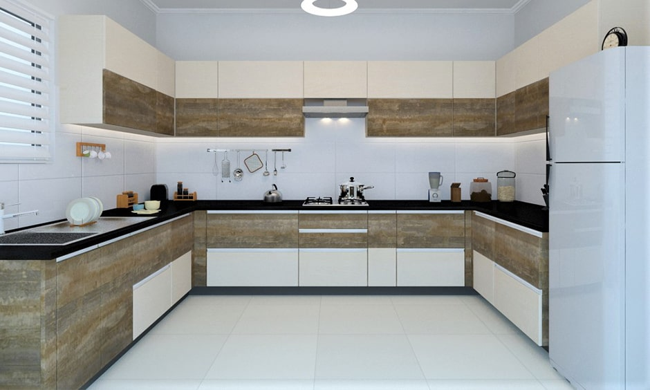 Traditional indian kitchen design with coffee and cream is a classic and creative combination