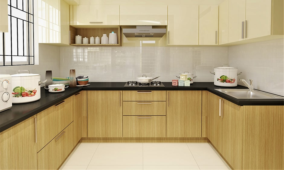 White oak themed traditional indian kitchen design