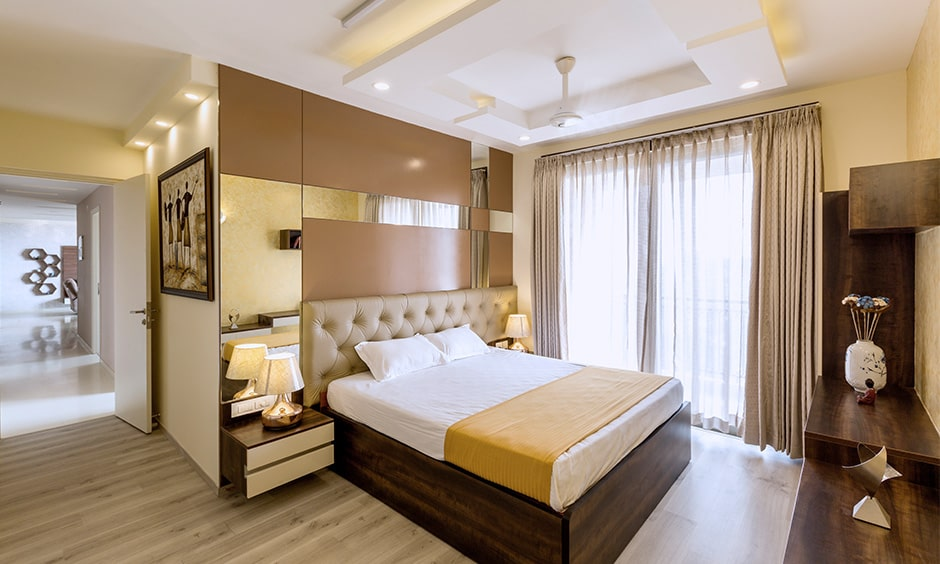 3bhk flat bedroom interior designed by bedroom interior designers in bangalore