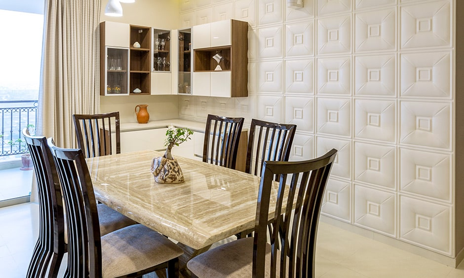 3 bhk flat interior design of the dining area designed by interior designers in bannerghatta road bangalore
