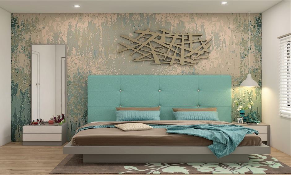 Light wooden low floor king-size bed with sea-green tufted headboard and brown mattress remind calm and warm.