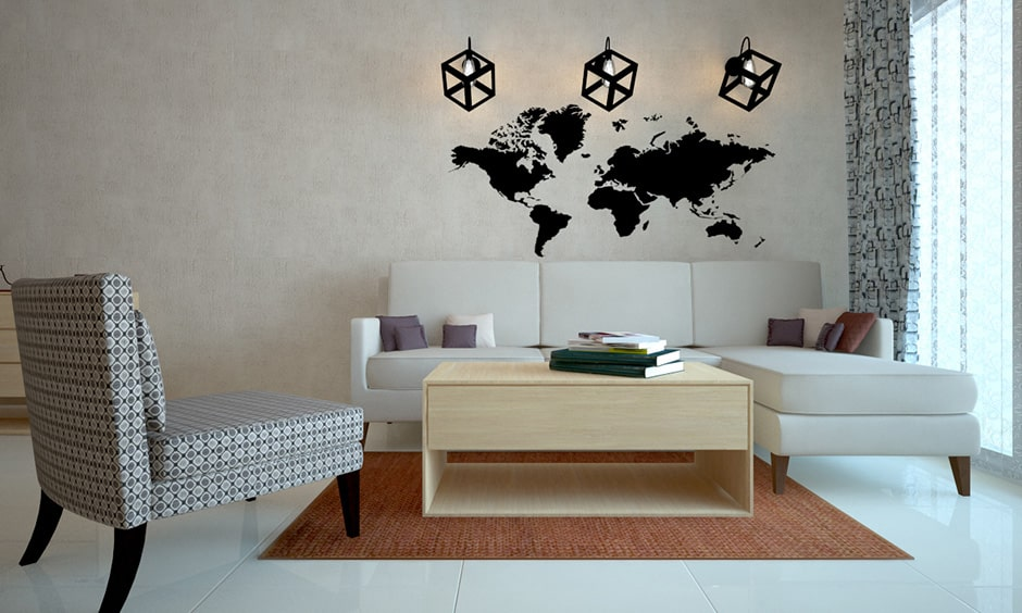 Contemporary living room with white or grey should be strong and dynamic