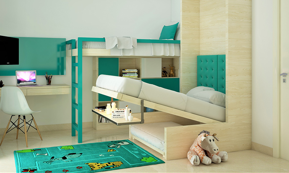 Bunk bed designs india with wall bed combo with shelves built-in in the lower area