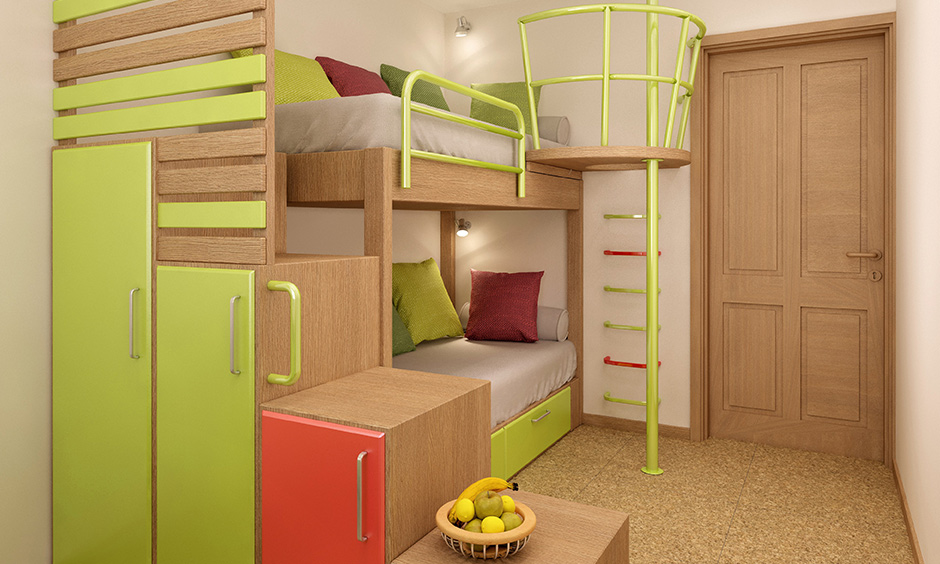 Bunk bed designs with study table built in storage