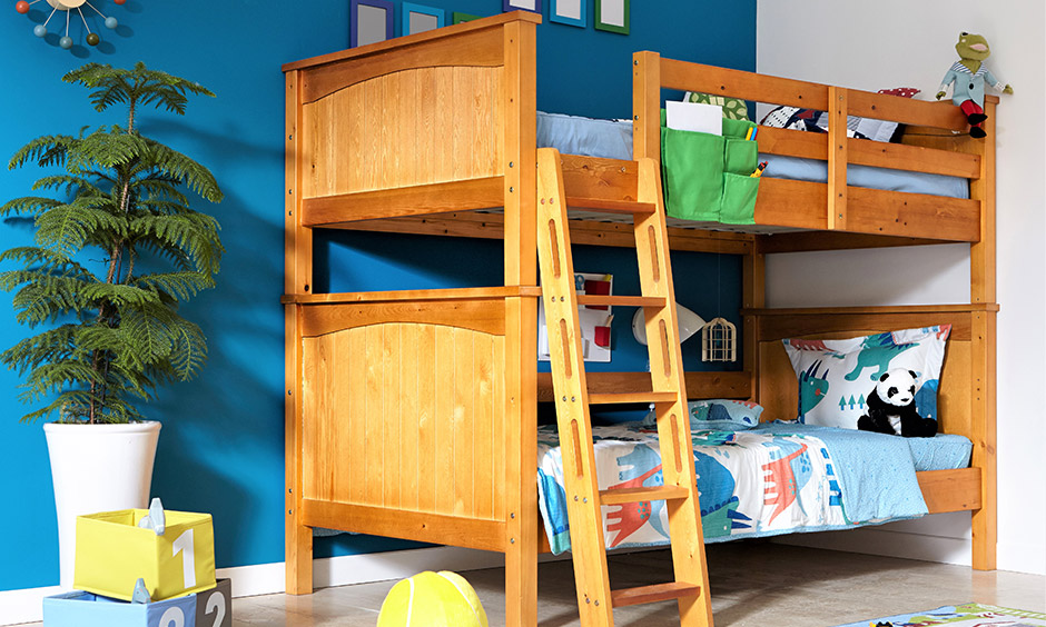Classic wooden bunk bed ladder design which is traditional and rustic