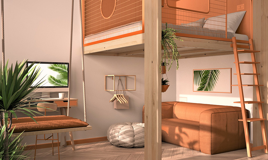 Living room combo and loft bunk bed design plans for your modern studio apartment