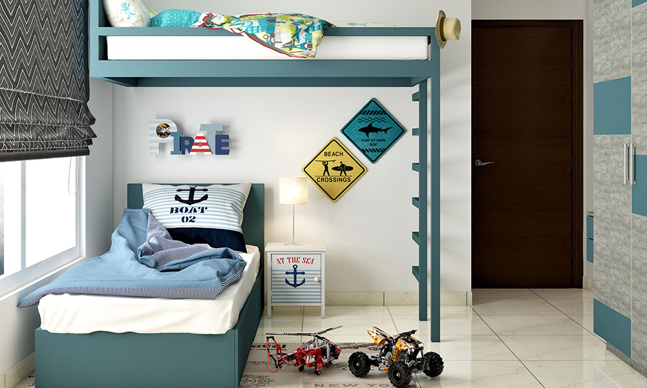 L shaped bunk bed designs for boys where you can place a small side table or a bookshelf as well