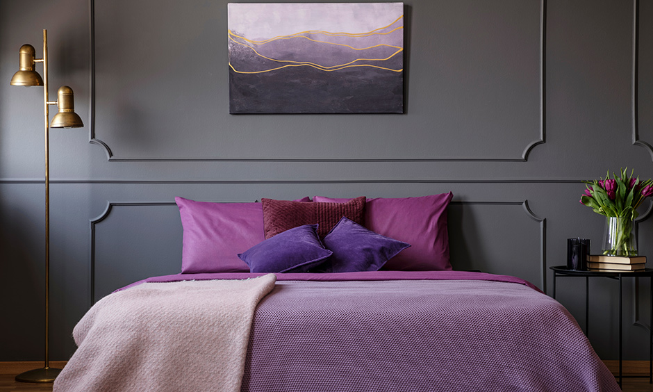 Accent lavender bedroom which gels beautifully with other dark hues