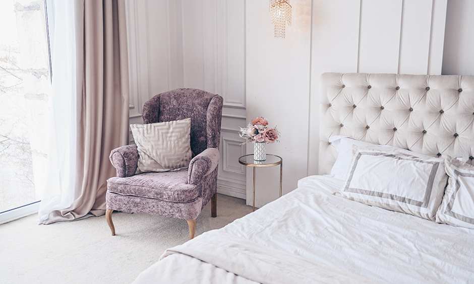 Lavender bedroom furniture with neutral hues break the neutrality