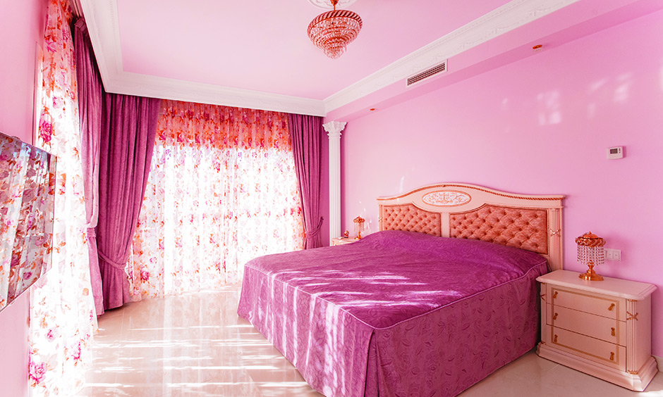 Girly light lavender bedroom dearth of patterns in the room