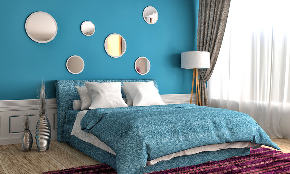 Light blue and lavender bedroom which brings a peaceful vibe to the bedroom