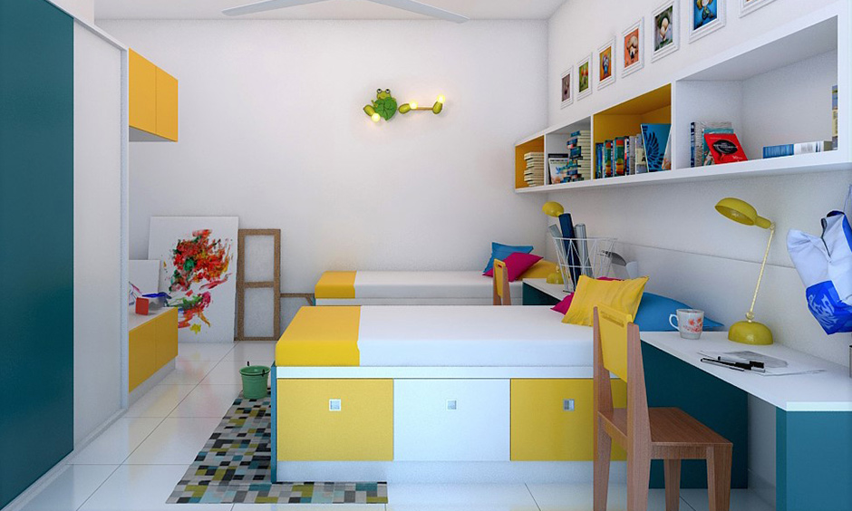 Dorm room ideas that pull-out drawers, creative lights, cabinets and wall art will lend a playful vibe.