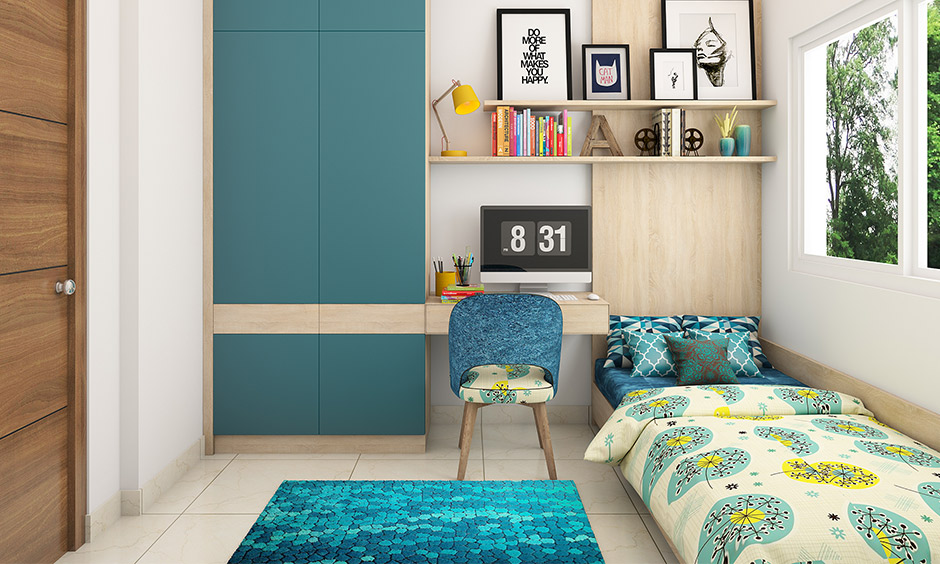 Multifunctional unique dorm room ideas with colourful throw pillows, a floral patterned quilt and a blue-hued throw rug cosy