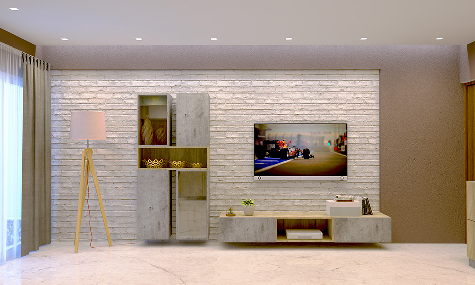 A brilliant brick wall of a minimalist living room and dining room with accent wall made from wallpaper