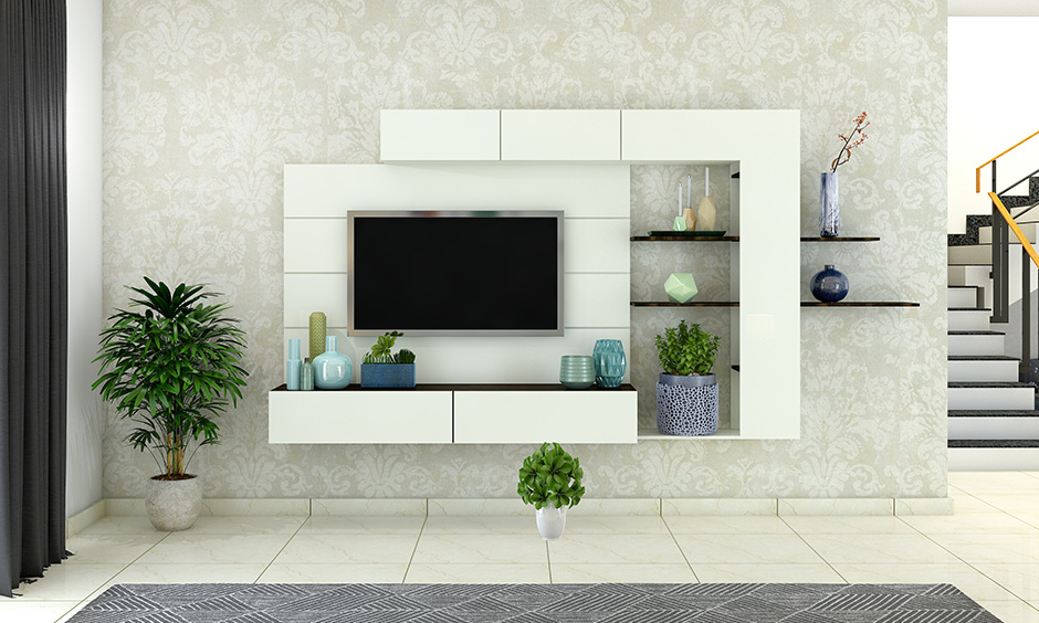Living and dining room with an entertaining entertainment unit with push to open shutter