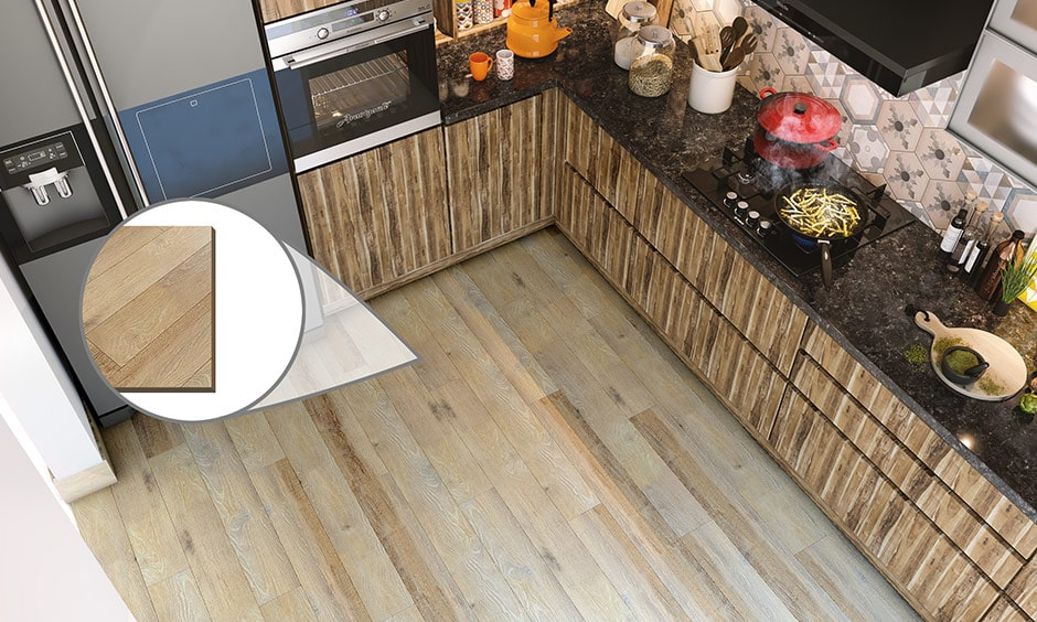 Different types of materials for kitchen flooring is wood panelling