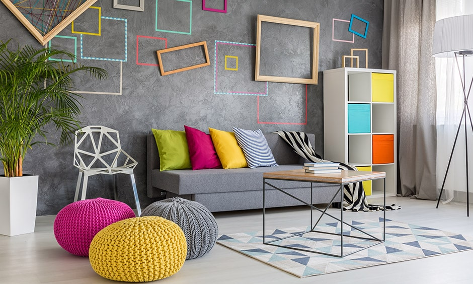 Rainy season decoration in living room with warm coloured bean bags