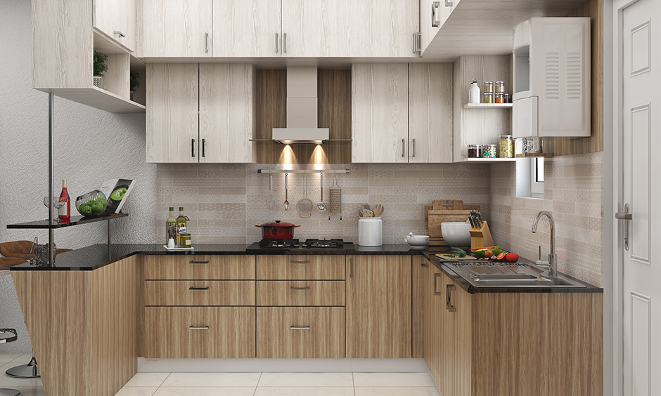 Closed kitchen wardrobe modern designs create an enclosed space and still keeping the design open.