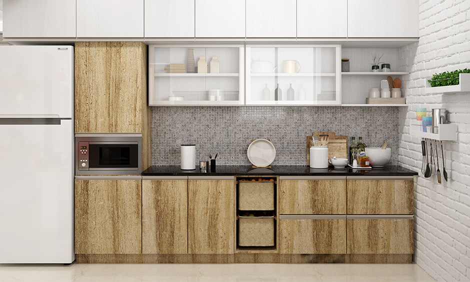 Rustic brown and a sophisticated white combination for a kitchen wardrobe are decidedly modern, and beautifully.