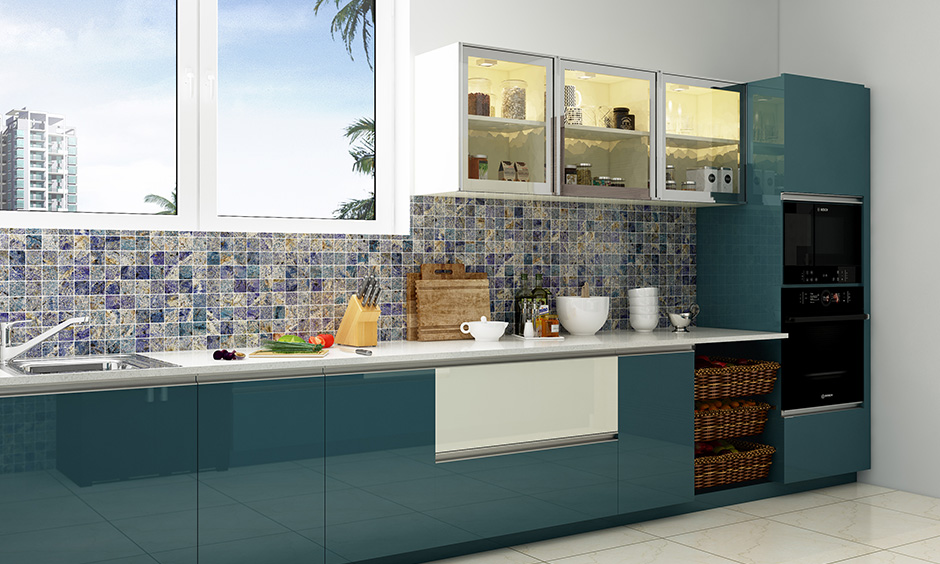 Glossy kitchen and wardrobe designs without handles for the cabinets and racks and funky backsplash looks cool & modern.