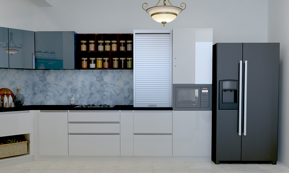 Kitchen wardrobe design with simple white, cool blue, a textured backsplash and the shutter cabinet looks modern.