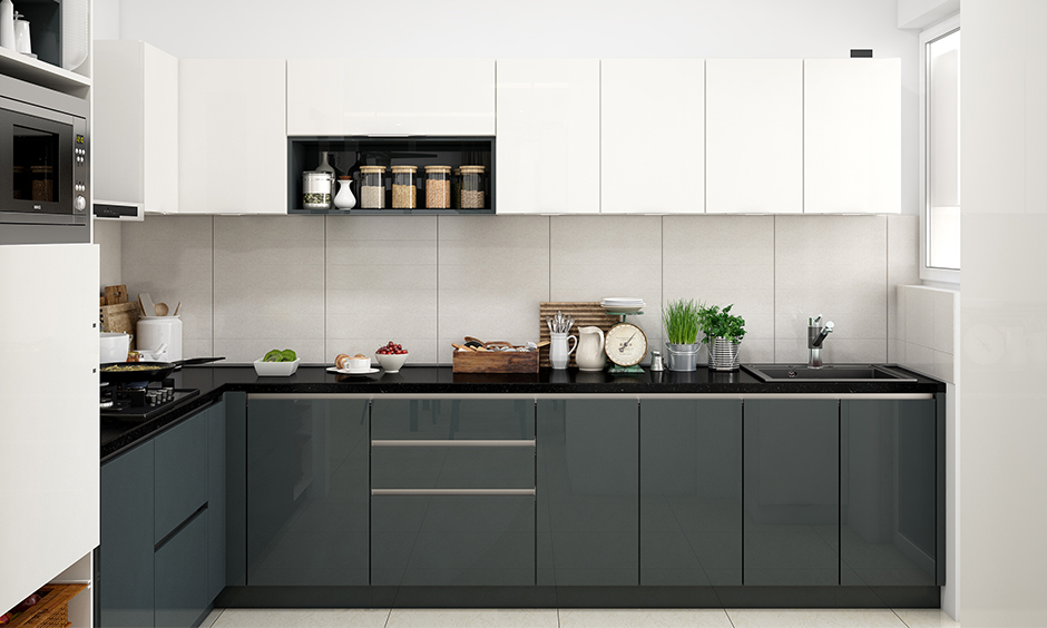 Clutter-free classic Italian finish closed cabinet and trolley design for wardrobe design for kitchen.