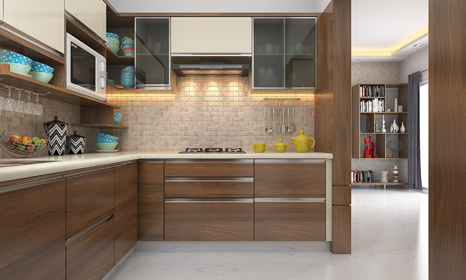 Laminate wooden wardrobe designs for kitchen is a classic and with warm lights to take it up a notch.