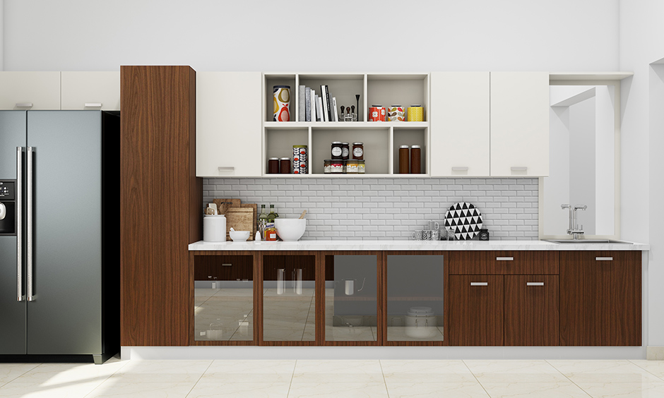 Open kitchen design wardrobe with natural brown laminate and white cabinetry looks modern kitchen design.