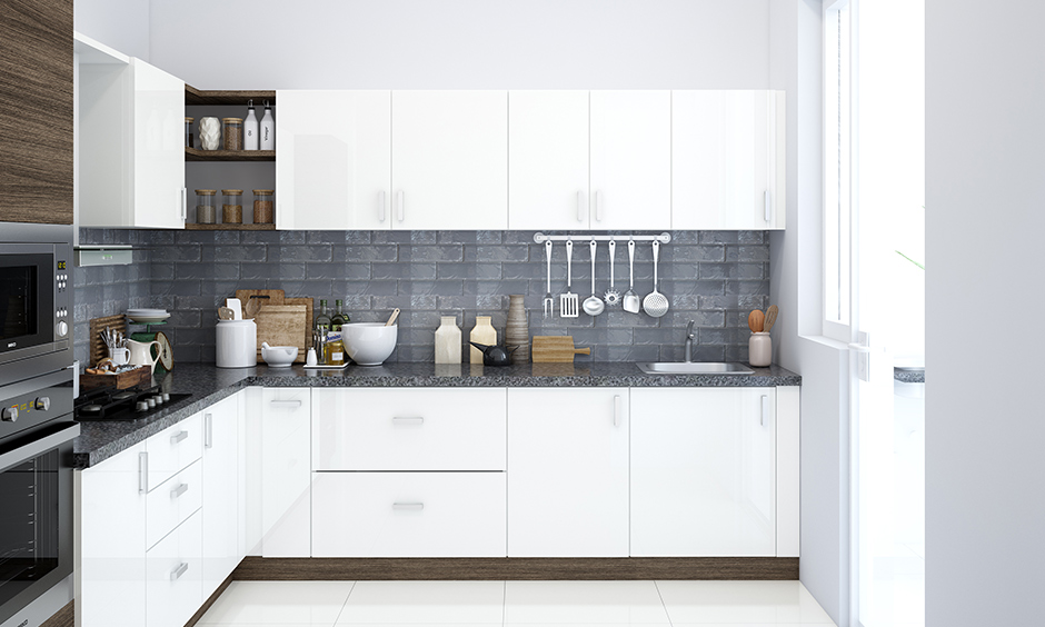 L shaped kitchen and wardrobe designs images with the colour white do all the talking and aren't as challenging to maintain