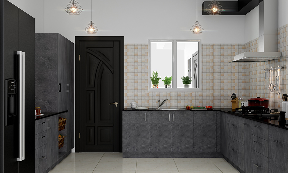 Background chequered tiles whitewashed kitchen wardrobe design with the colour grey is beautiful.