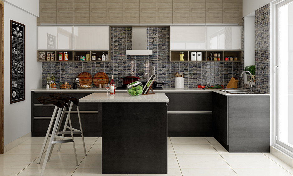 Island kitchen wardrobe design with a monochrome scheme and modular kitchen cabinetry with steel accents.
