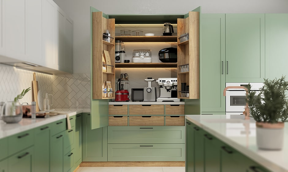 Appliance garage is a large tall unit that is a mini kitchen