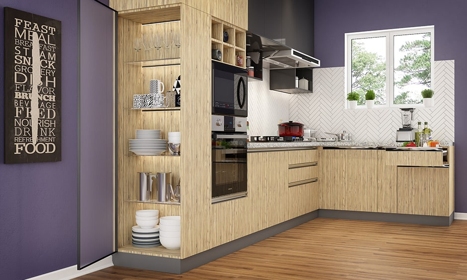 L-shaped kitchen layout images for modern homes in a 1bhk apartment