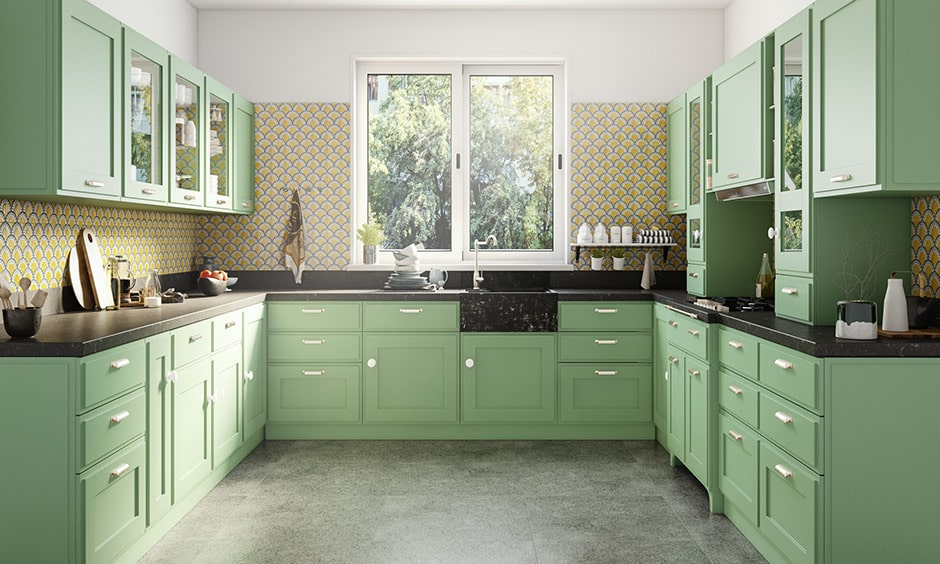 U-shaped kitchen layout suitable for large kitchens with enough width