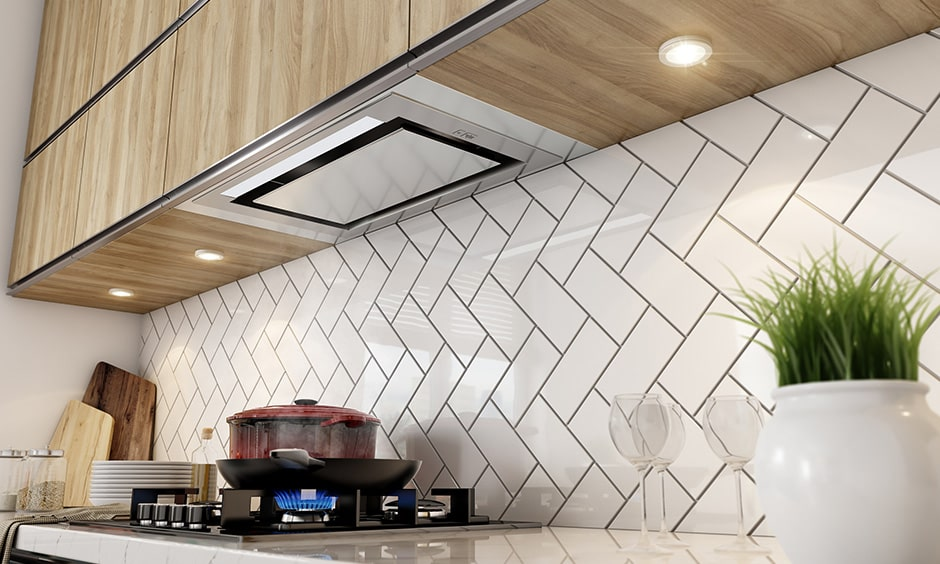 Spotlights lighting suitable for kitchen countertop while planning kitchen interior design