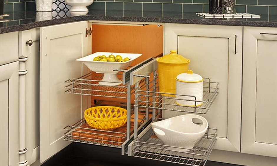 Pull-out blind kitchen corner cabinet solutions are to optimize the storage & easy access to hidden items.