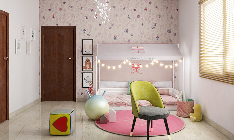 Pink and white kids floor bed with lights are safe and allow free movement.