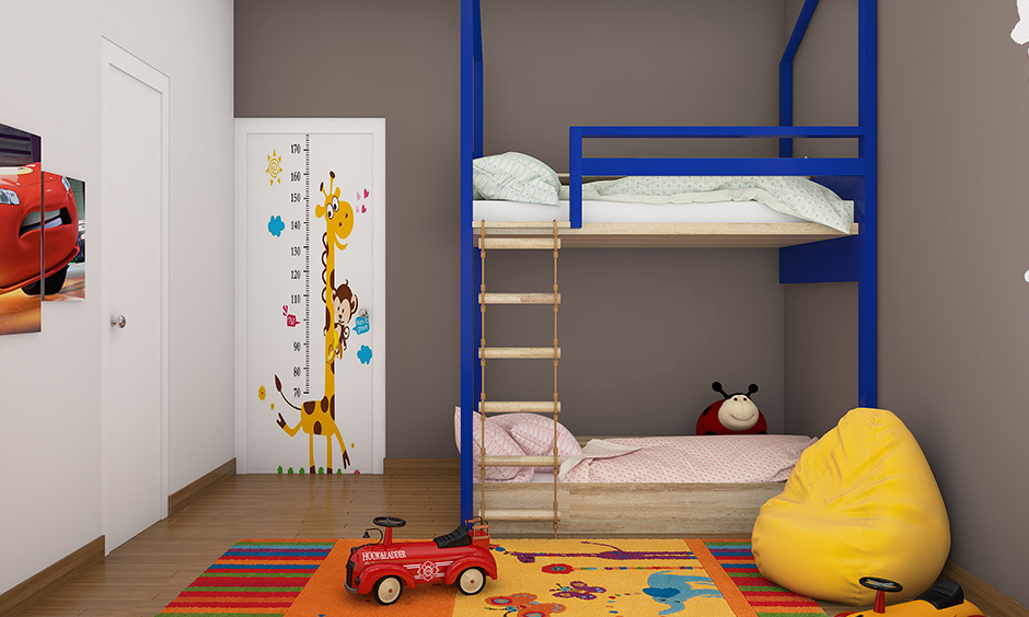 Kid bunk beds with a ladder great for small homes or bedrooms as they take up less floor space.