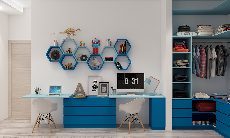 Cloth storage units for kids room An open closet or wardrobe gives easy and hassle-free access for kid's clothes.