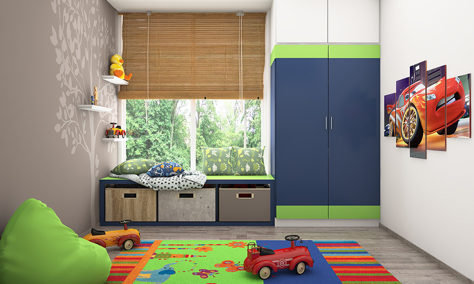 Tips to kids room toy storage, Pull-out cabinets under window sills or coloured tubs are super-efficient storage options.