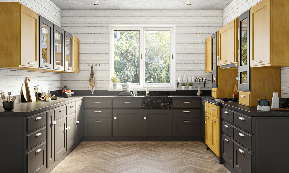 This U-shaped yellow and brown kitchen unit design look sleek and right combination with tall unit and cabinets.