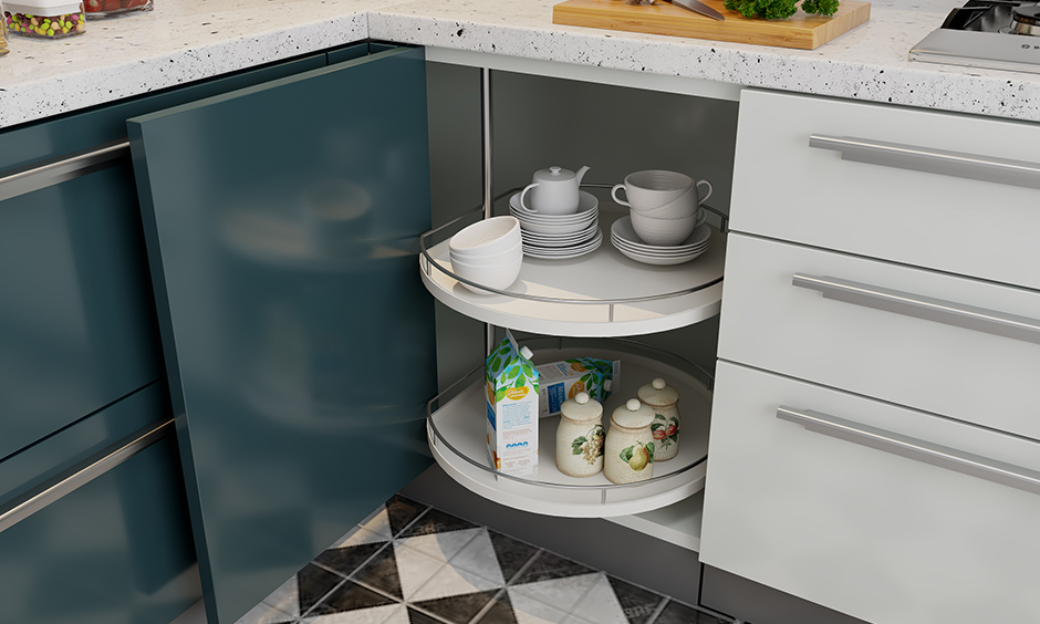 Rotating D carousel is another corner kitchen unit design for the kitchen in the shape of a disc to store your everyday severer.