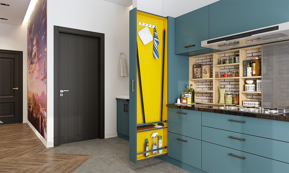 Blue out & yellow in colour accent janitor kitchen unit to hide away unsightly mops and brooms
