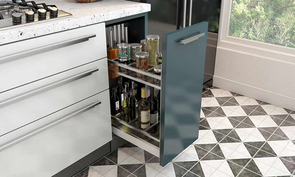 This bluish laminated oil-pull out base kitchen unit design typically installed beside your hob unit