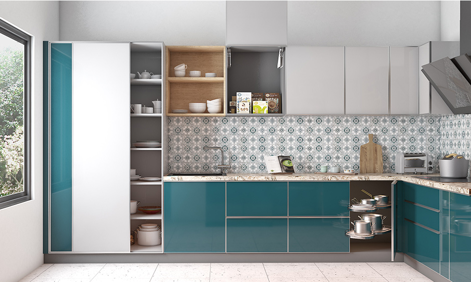 Blue & white laminate open boxes wall kitchen unit design is ideal for storing things that frequently used like spices & other essentials
